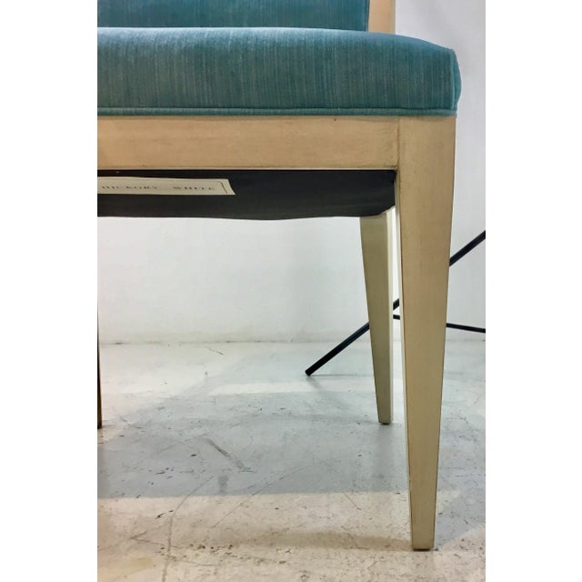 Hickory White Hickory White Modern Turquoise Velvet Greek Key Dining Chairs Set of Four For Sale - Image 4 of 11