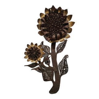 Brutalist Metal Sunflower Wall Sculpture For Sale
