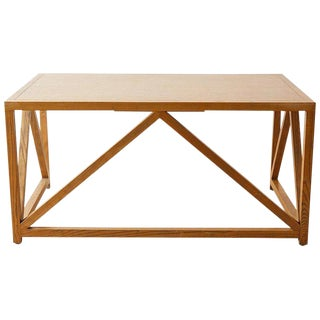 Mid-Century Modern Oak Architectural Writing Table Desk For Sale