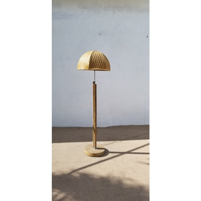 1970s Vintage Paul Frankl Style Rattan & Chrome Floor Lamp For Sale - Image 13 of 13
