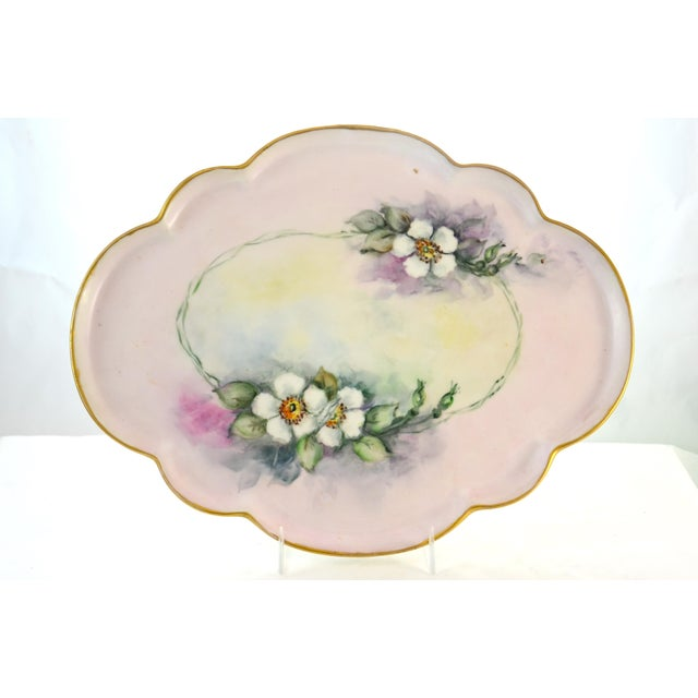 Ceramic Antique Limoges Floral Tray For Sale - Image 7 of 7