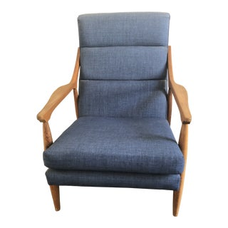 Hans Wegner Style High Back Lounge Chair For Sale