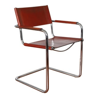 1970s Bauhaus Leather & Chrome Cantilever Armchair by Matteo Grassi For Sale