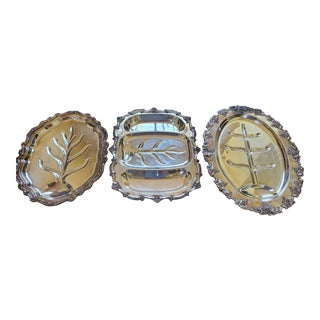 Vintage Mid-Century Silver Plated Meat Trays/Platters - Set of 3 For Sale