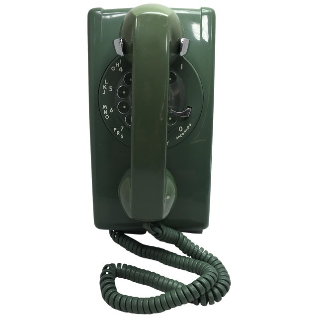 Moss Green Western Electric Rotary Dial Wall Phone - Image 1 of 11