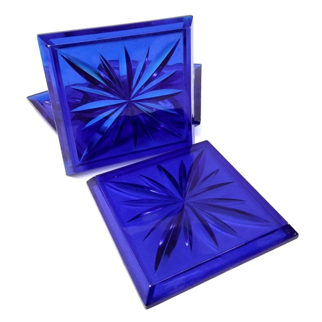 Mid-Century Modern Mid Century Cobalt Blue Cut Lucite Coasters - 4 For Sale - Image 3 of 8