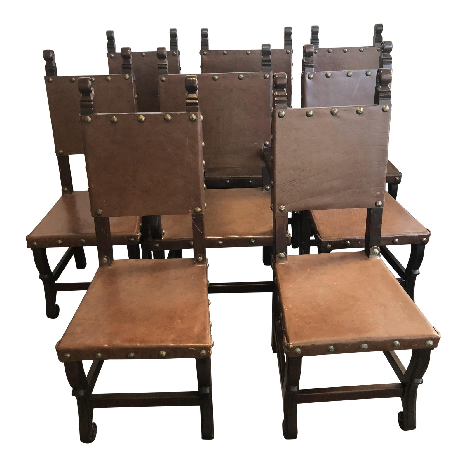 Spanish Style Dining Room Furniture: Rustic Spanish Style Leather/Hardwood Dining Chairs