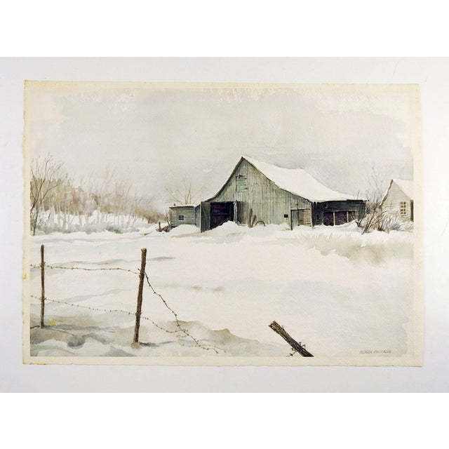 Rustic Barn in Winter by Gordon Morrison Watercolor Painting For Sale - Image 3 of 4