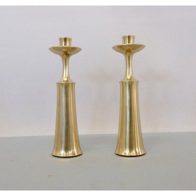 Jens Quistgaard JHQ Dansk Denmark Solid Brass Candle Sticks - a Pair For Sale - Image 4 of 6