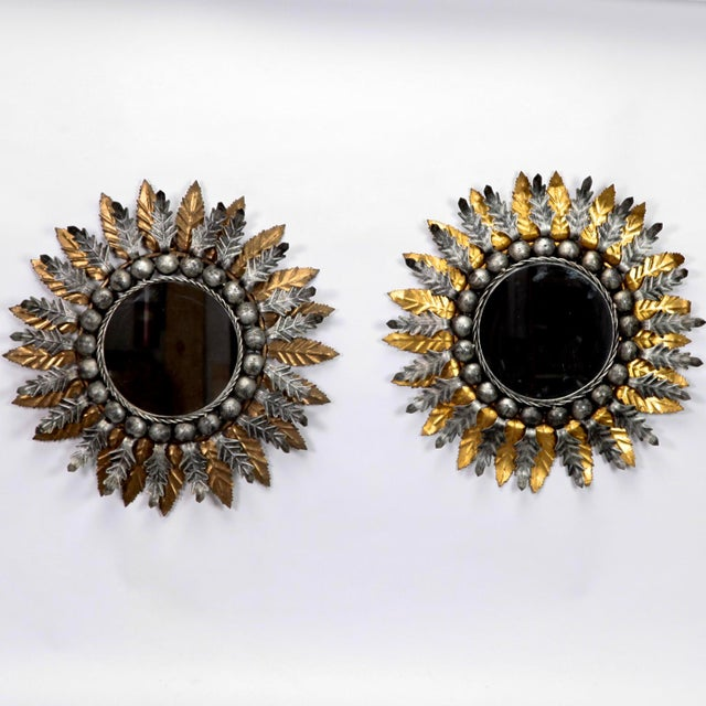 Spanish Gilt and Silver Metal Sunburst Mirrors - a Pair For Sale - Image 9 of 10