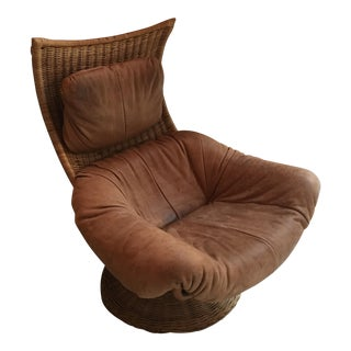 Light Brown Leather & Wicker Arm Chair For Sale
