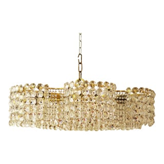 Large Chandelier of Cut Crystal by JL Lobmeyr for Lobmeyr, 1950 For Sale