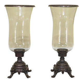 Wildwood Accents Bronze Decorative Candlesticks With Hurricane Globes - a Pair For Sale