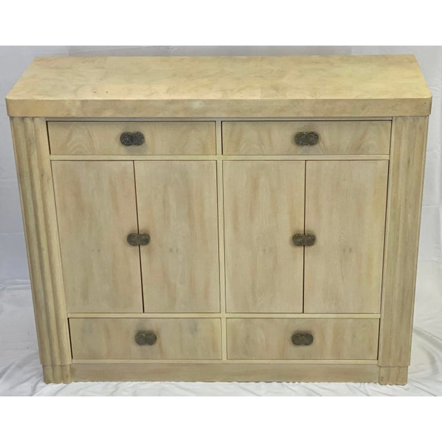 Art Deco Hickory White Pickled Oak Cabinet For Sale - Image 12 of 12