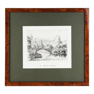 """1935 """"Pont De La Rotonde"""" Engraving by A. Brient, Framed For Sale"""