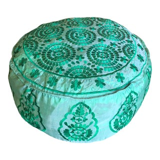 Handmade Indian Green Pouf For Sale