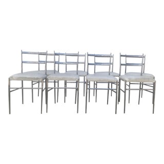 1960s Vintage Gio Ponti Chrome Superleggera Chairs- Set of 8 For Sale