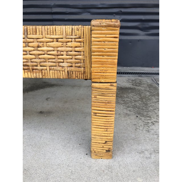 Brown Vintage Wrapped Rattan Billy Baldwin Style Coffee Table For Sale - Image 8 of 13