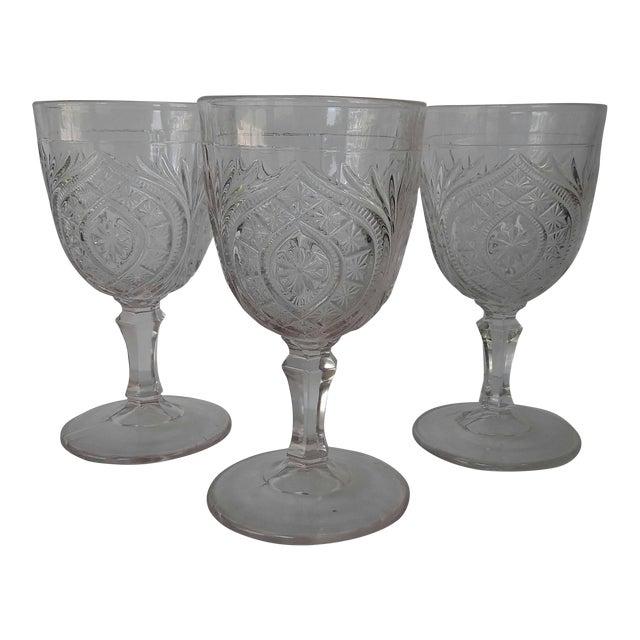 Antique Eapg Civil War Era Water Goblet - Set of 3 For Sale