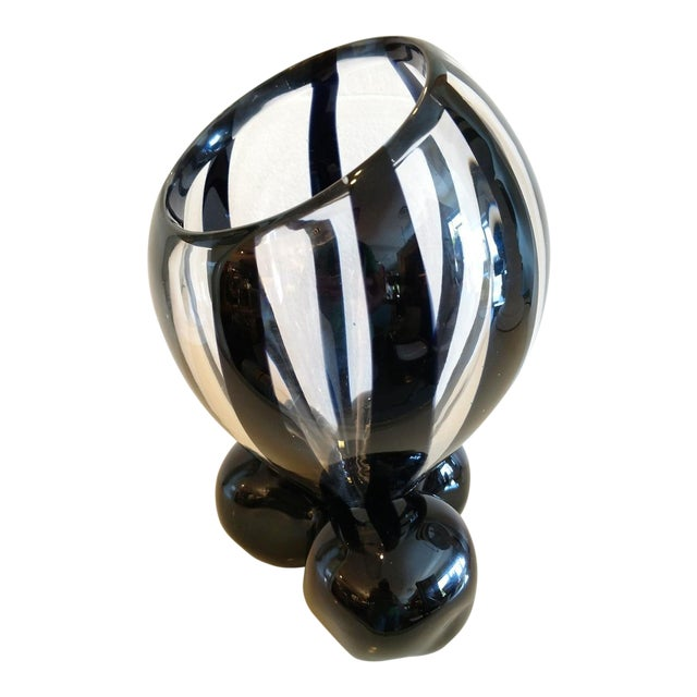 Pino Signoretto, Murano Black/Clear Art Glass Vase on Stand For Sale