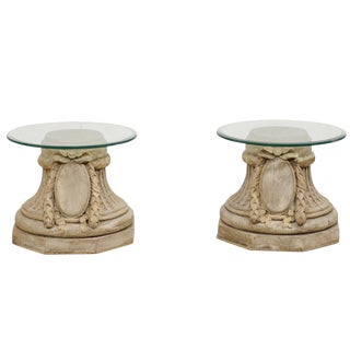 French Mid 20th Century Capital Base Side Tables - a Pair For Sale