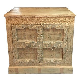 Asian Square Yellow and Blue Cabinet For Sale