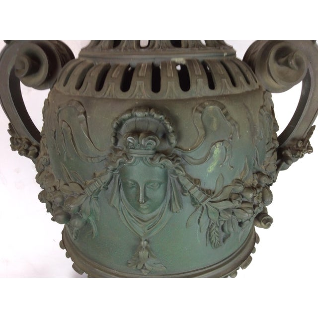 Antique French Carved Bronze Urn For Sale - Image 9 of 10