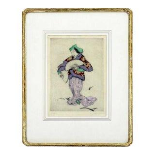 Antique Framed Signed Aquatint Elyse Ashe Lord Fan Dancer 28/75 For Sale
