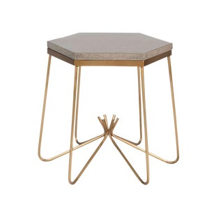 Richer Burlap Top Side Table For Sale