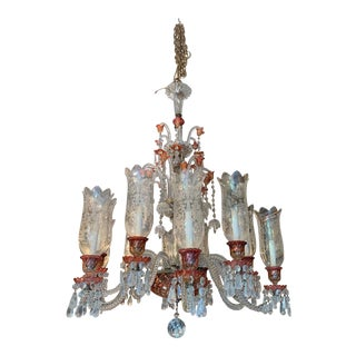 Late 19th Century Antique Original Signed French Baccarat 12 Light Cranberry Red Crystal Chandelier For Sale