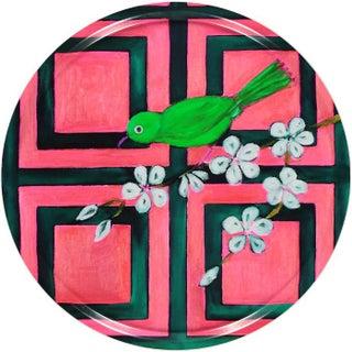 """""""Pink Trellis Bird"""" Round Tray"""