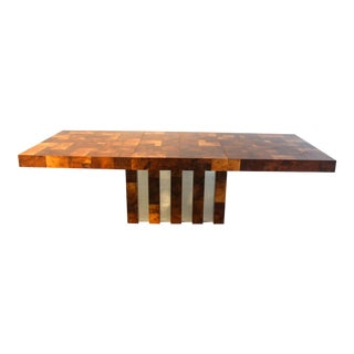 Paul Evans Cityscape Burled Walnut Modernist Dining Table For Sale