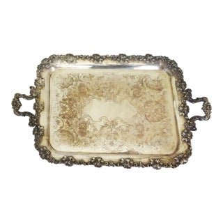 Early 20th Century English Silver Plate Serving Tray Barker Ellis For Sale