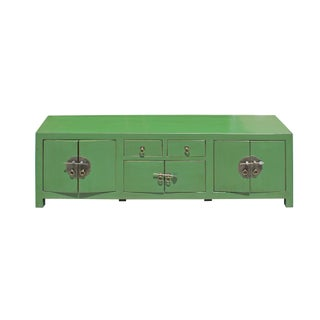 Chinese Distressed Medium Dark Moss Green Low Tv Console Table Cabinet Preview