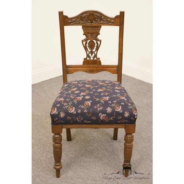Gothic 1940's Antique Jacobean Gothic Revival Walnut Dining Side Chair For Sale - Image 3 of 8