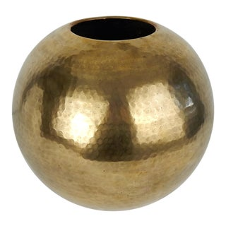 C. 1970s Hammered Brass Vase For Sale