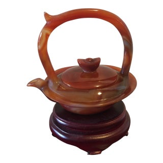 Vintage Chinese Carved Agate Teapot For Sale