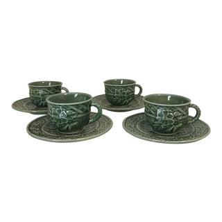 1980s Bordallo Pinheiro Cabbage Ware Espresso Cup & Saucer Set of 4 For Sale
