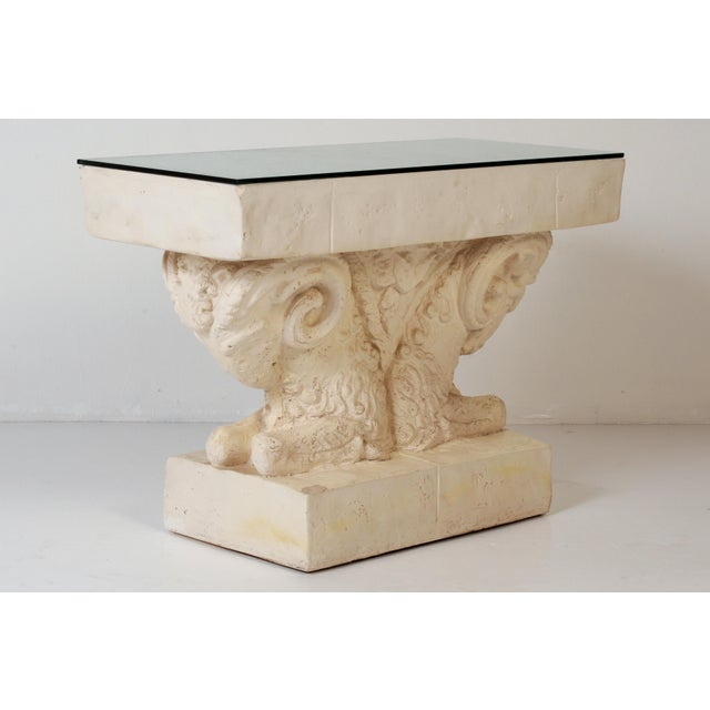 Neoclassical Neoclassical Double Rams Head Plaster Console Table For Sale - Image 3 of 8