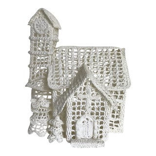 1970s Cottage Crochet Cottage Figurine For Sale