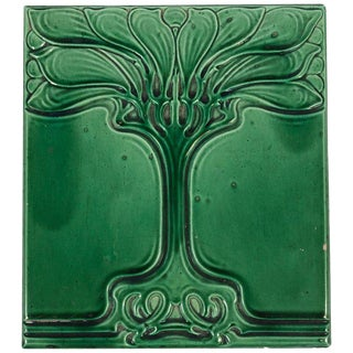 Art Nouveau Emerald Green Glazed Tree Ceramic Tile For Sale