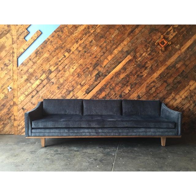 Mid Century Style custom walnut trim sofa Grey/blue velvet like fabric, angled arms, Available in your choice of fabric...