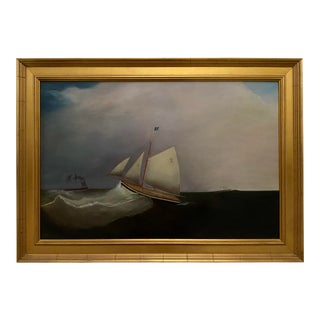 1990s Nautical Oil Painting of a Sloop in High Seas, Framed For Sale