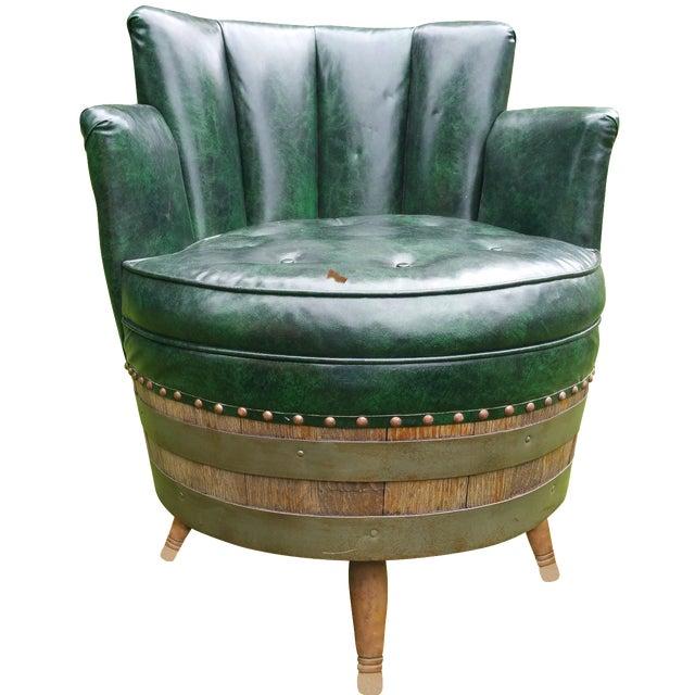 Whiskey Barrel Naugahyde Swivel Chair For Sale