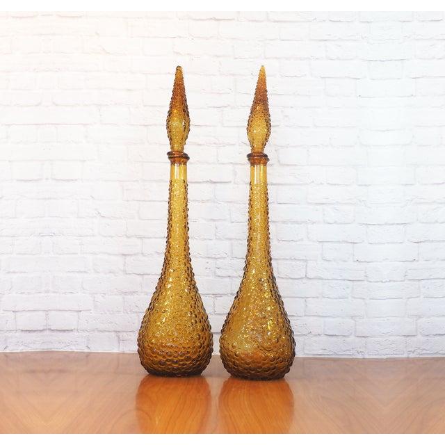 Italian Empoli Bubble Glass Genie Decanters - Pair - Image 2 of 9