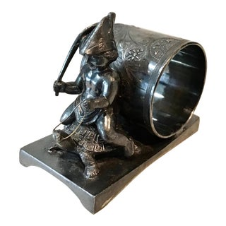 Victorian Silverplate Figural Boy Riding Turtle Napkin Ring For Sale