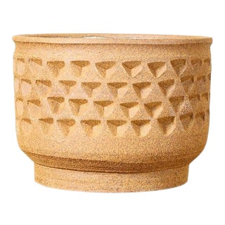 Christian Boehr Ceramic Stoneware Planter — Tetrahedron Pattern — Raw Exterior | Glazed Interior — P24 For Sale