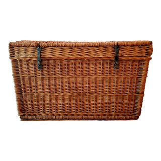 Antique Wicker Trunk With Brass Fixtures For Sale