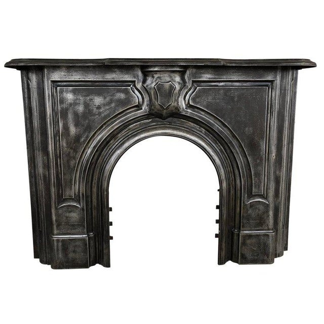 Antique Gothic Cast Iron Fireplace Mantel For Sale - Image 6 of 6