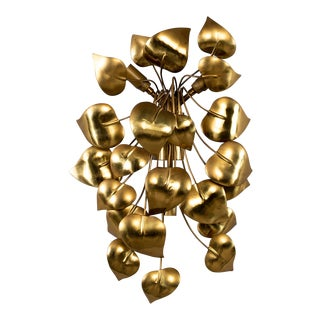 Cascading Leaves Gilt Metal Light Fixture Attributed to Maison Jansen For Sale